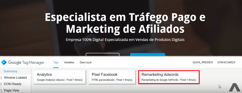 tag de remarketing do google adwords instalada